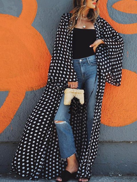 Casual Cotton-Blend Polka Dots Outerwear