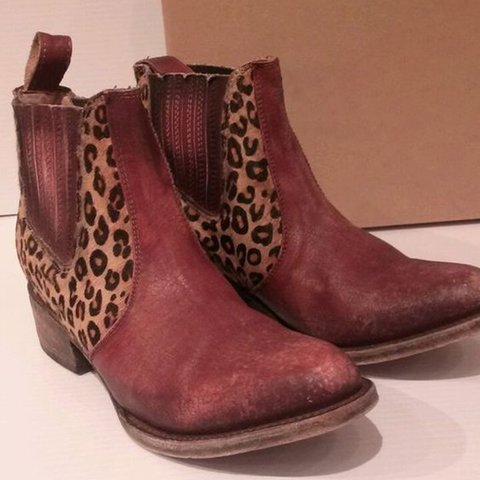 Red Date Pu Block Heel Boots