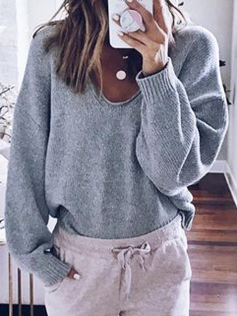 Gray Long Sleeve Casual V Neck Sweaters