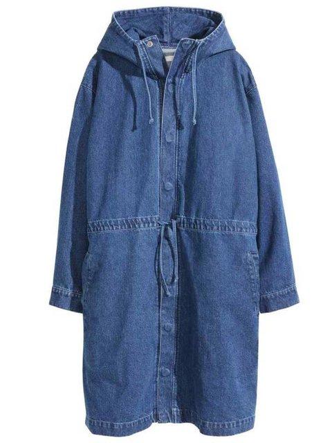 Deep Blue Long Sleeve Hoodie Denim Outerwear