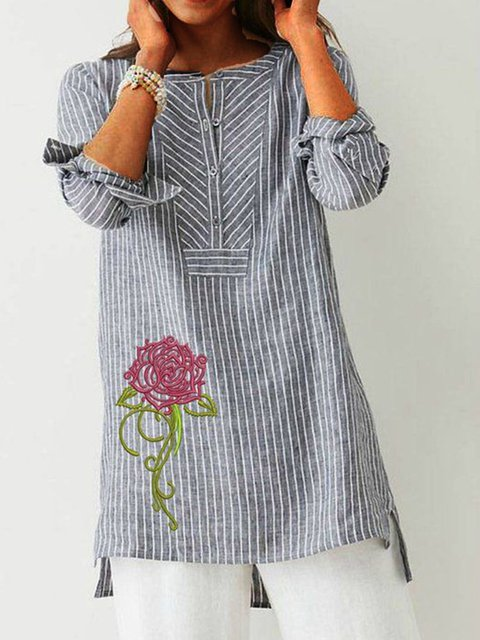 Gray Long Sleeve Crew Neck Shirts & Tops
