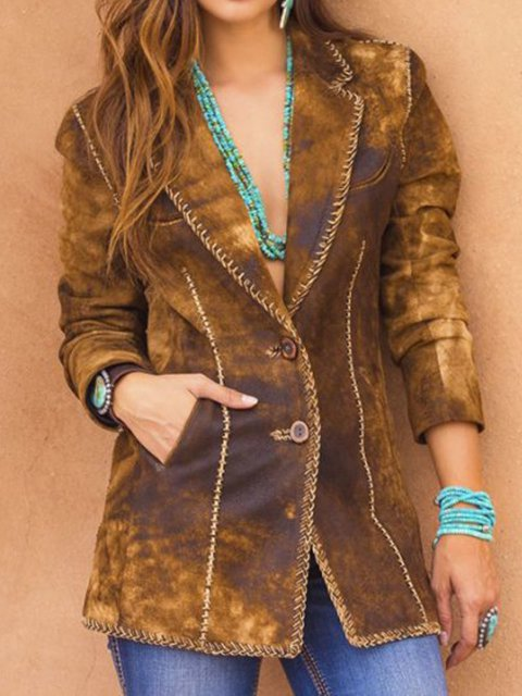 Plus Size Casual V Neck Pockets Outerwear