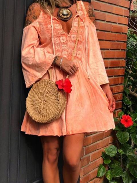 Off Shoulder Women Dresses Shift Daily Guipure Lace Floral Dresses