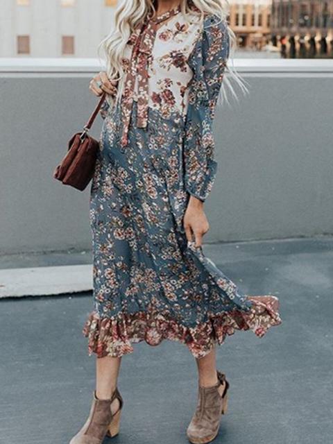 V Neck Women Dresses Shift Date Boho Floral-Print Dresses