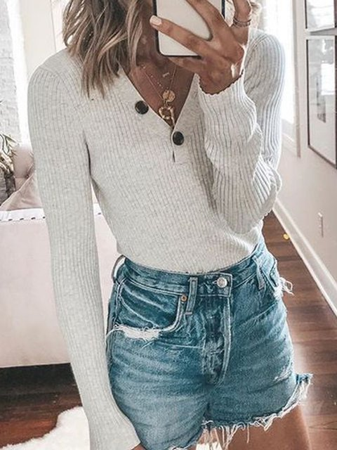 White Solid V Neck Buttoned Long Sleeve Sweaters