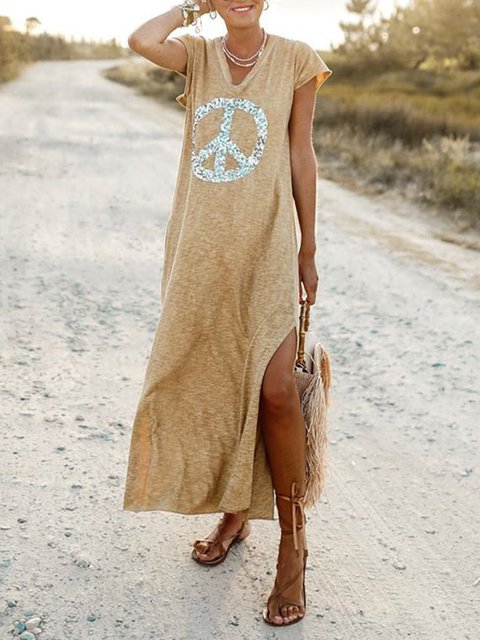 Plus Size Boho Maxi Dresses Summer V Neck Dresses