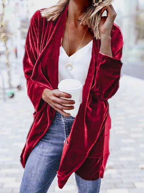 Plus Size Pockets Cardigan Shawl Collar Solid Coat