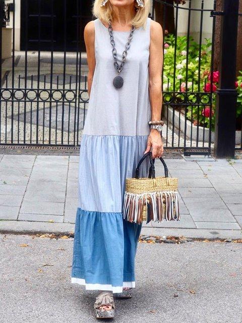 Plus Size Maxi Dresses Summer Sleeveless Boho Paneled Dresses