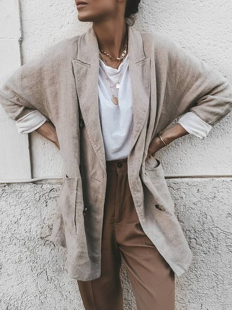 Plus Size Pockets Blazer Women Solid Shawl Collar Coat