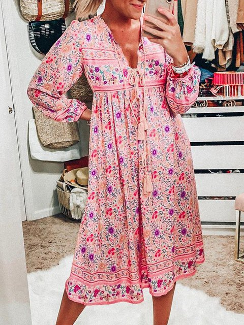Plus Size Midi Dresses Boho Floral-Print V Neck Dresses