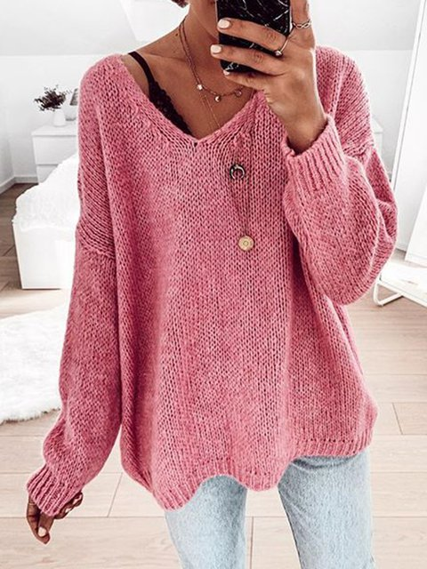 Plus Size Solid Sweater V Neck Long Sleeve Knitted Tops