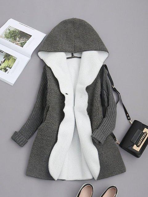 Gray Paneled Plain Hoodie Long Sleeve Coats