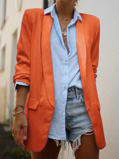 Formal Pockets Long Sleeve Lapel Plain Coats
