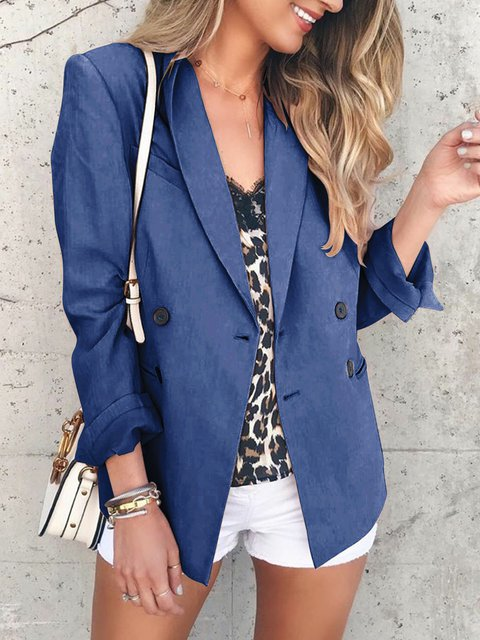 Pockets Solid Formal Long Sleeve Coats