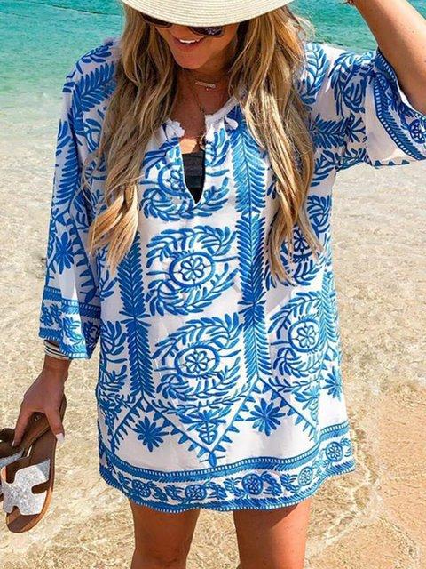 V Neck Women Floral Dresses Beach Plant Dresses