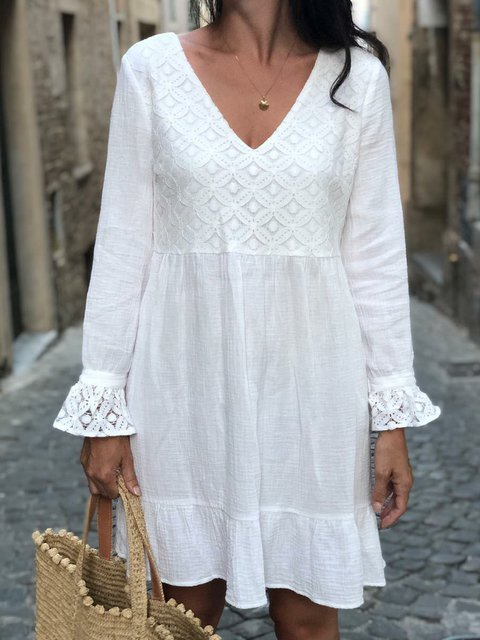 V Neck White Women Casual Dresses Casual Dresses