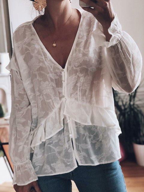V Neck Sweet Long Sleeve Jacquard Shirts