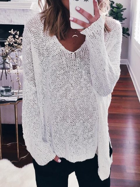 White V Neck Long Sleeve Solid Casual Sweaters