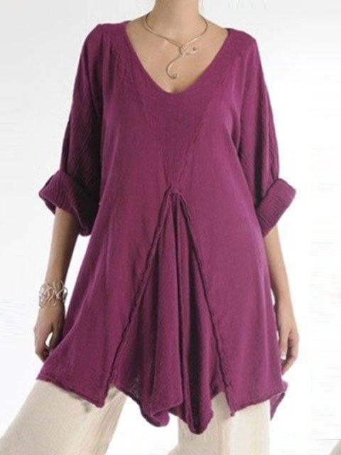 Fuchsia Simple & Basic Paneled Shirts & Tops
