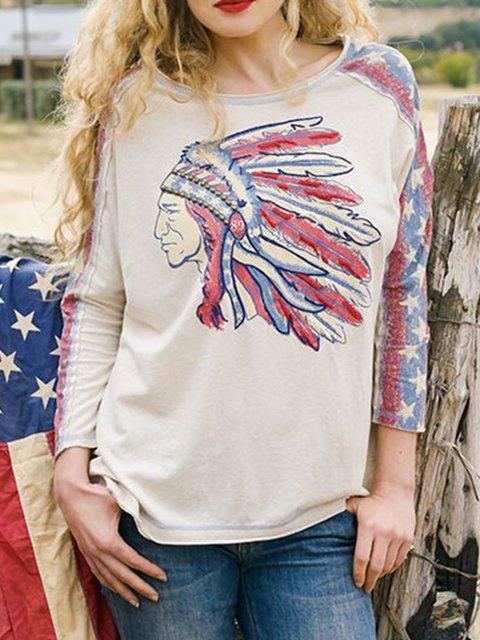 Boho Printed Star Cotton-Blend Round Neck Shirts & Tops
