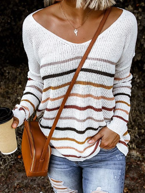 White Knitted Casual Knitted Shirts