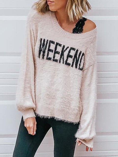 Plus Size Letter Long Sleeves Comfort Sweaters