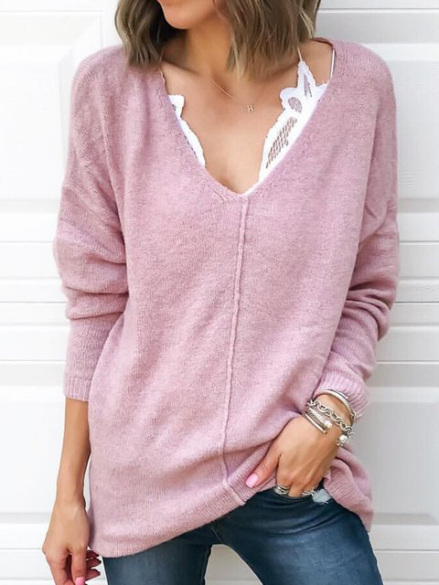 Pink Long Sleeve V-Neck Cotton Solid Shirts & Tops