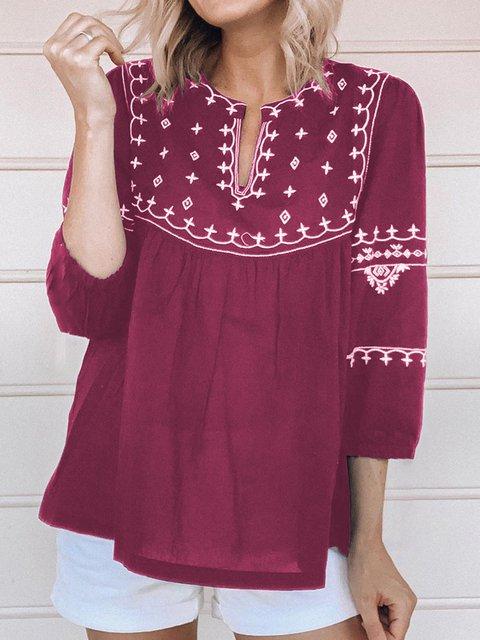 Women 3/4 Sleeves V-Neck Printed Sweet Blouses