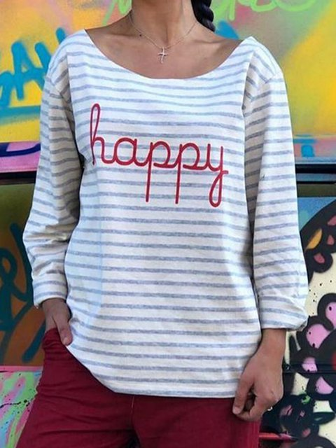Plus Size Letter Print Striped Long Sleeves Casual T-Shirts