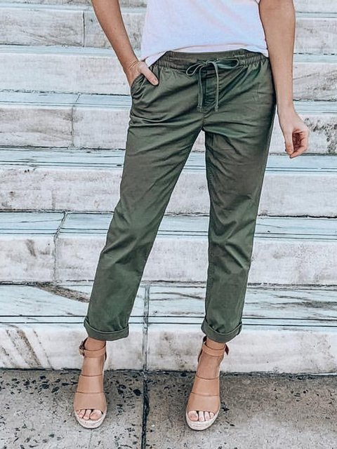 Plus Size Pockets Drawstring Shift Casual Pants