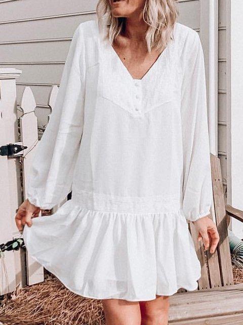 Women V-Neck Long Sleeves Ruffled Dresses