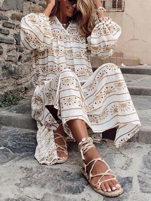 Women V-Neck Long Sleeves Slit Side Fall Dresses