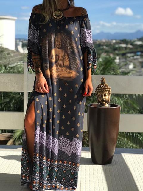 Black Women Dresses Shift Daily Vintage Tribal Dresses