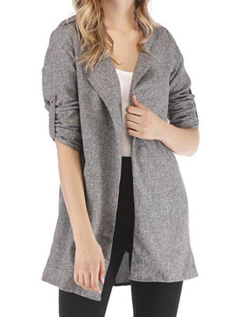 Gray Paneled Plain Lapel Long Sleeve Coats