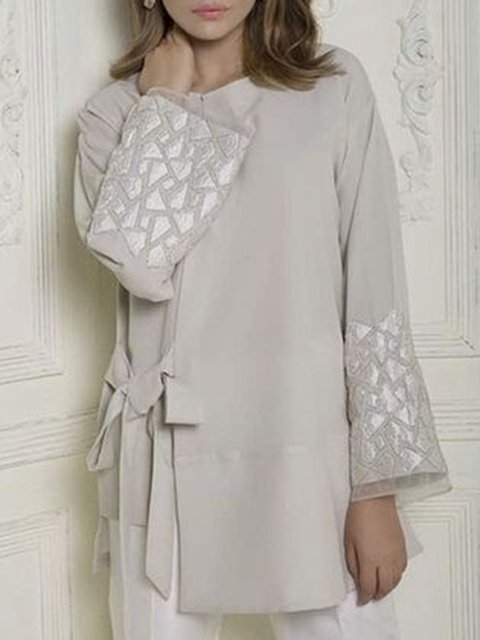 Beige Long Sleeve Cotton-Blend Simple & Basic Shirts & Tops