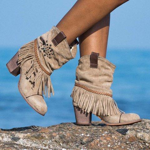 Plus Size Tassel Suede Slip On Chunky Heel Ankle Booties