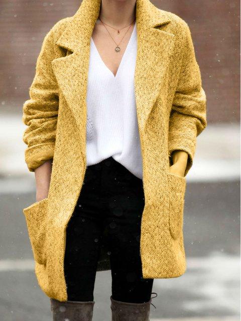 Long Sleeve Shawl Collar Plain Casual Outerwear