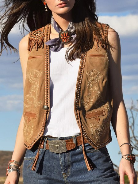 Sleeveless Faux Suede Outerwear