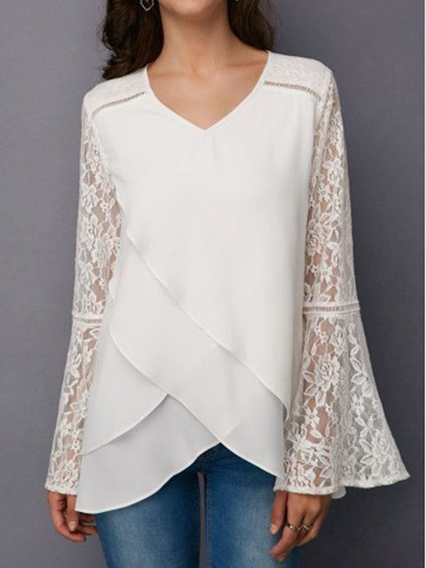 White Plain Long Sleeve Shirts & Tops