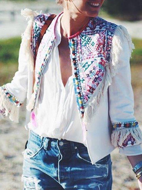 White Tribal Crew Neck Long Sleeve Coats