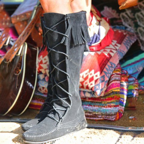 Women Winter Lace-Up Knee-High Boots
