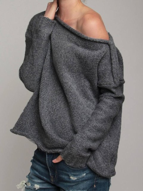 Black Off Shoulder Knitted Solid Long Sleeve Outerwear