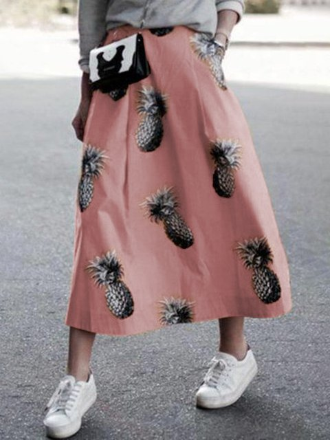 Linen Printed A-Line Skirts
