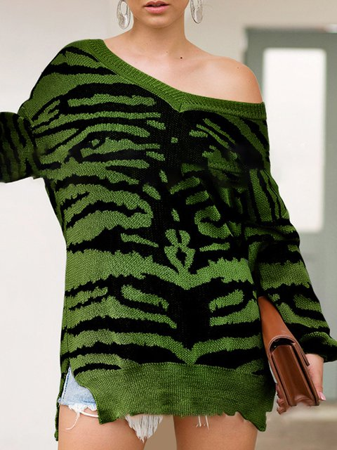 Color-Block Basic V Neck Long Sleeve Shirts & Tops
