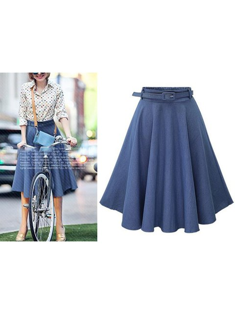Simple A-Line Denim Skirts