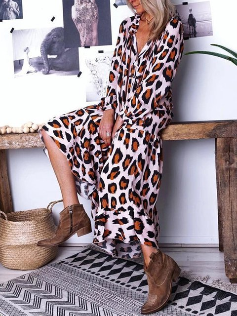 V Neck Women Dresses Going Out Printed Leopard Print Dresses