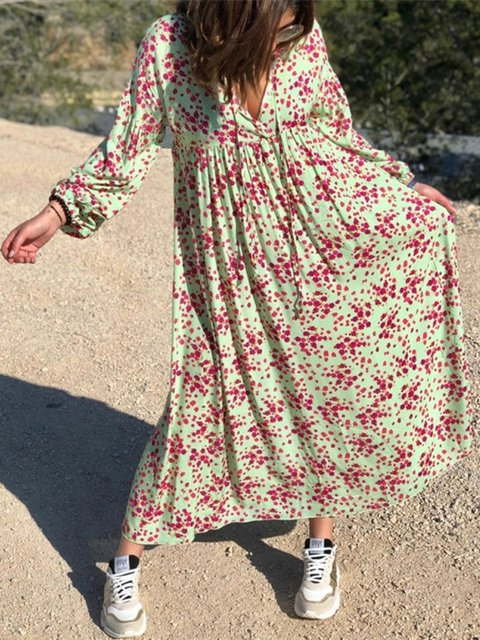 V Neck Printed Floral Women Dresses Going Out Cotton Polka Dots Dresses