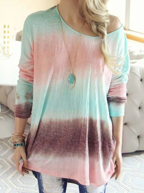 Cotton Printed Ombre/tie-Dye Casual Tops