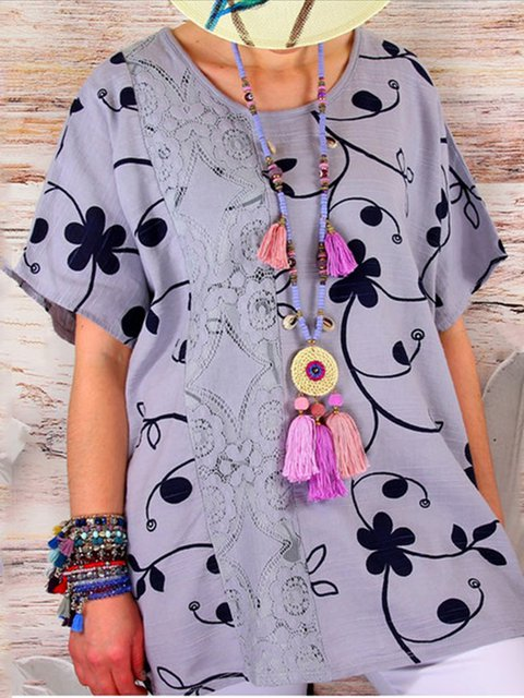 Printed Floral Guipure Lace Short Sleeve Holiday Tops