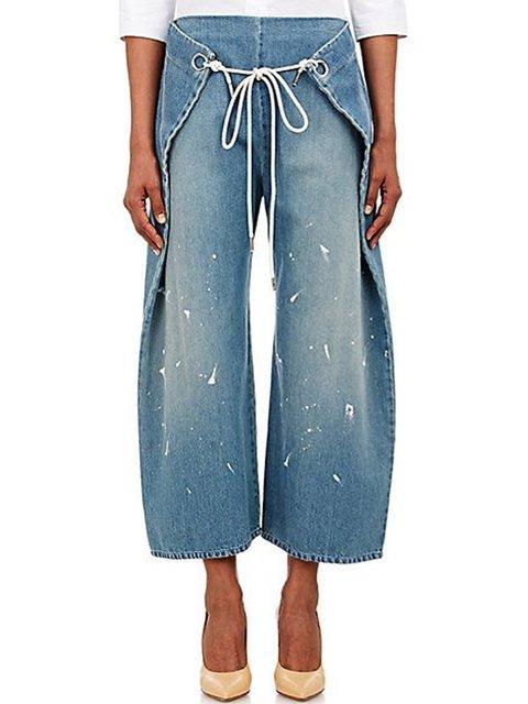 Blue Plain Casual Paneled Pants